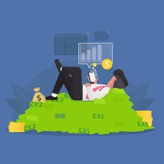 ビジネスマンがモバイルアプリで投資を回収するための図の概念