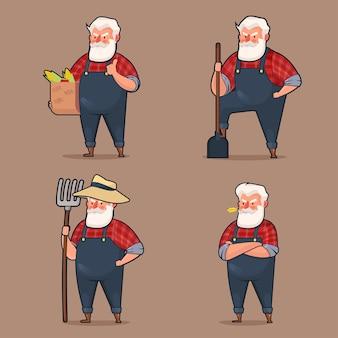 マスコットキャラクターセット古い農家の漫画のスタイル