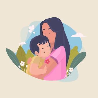 母は花をあげている子供を抱きしめるフラットキャライラスト