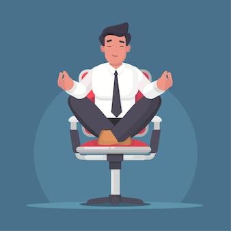 瞑想とオフィスでリラックスした実業家