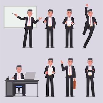 ビジネスの男性キャラクターのポーズとアクション