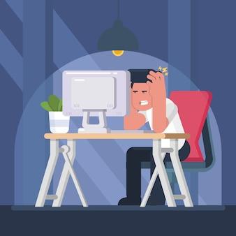 忙しい過労ビジネス男はノートパソコンとテーブルに座っていると強調しました。
