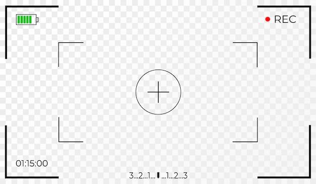 ビデオレコーダーデジタルディスプレイのカメラフレームビューファインダー画面。透明な背景。