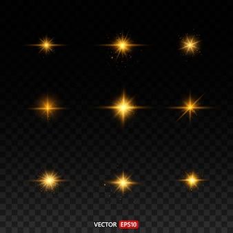 Золотой светящийся свет взрывается на прозрачном