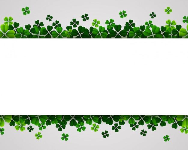 День святого патрика баннер фон с зелеными трилистниками