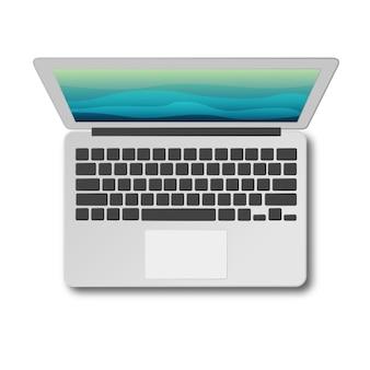 Вид сверху ноутбук с тенью, изолированные на белом фоне. современный ноутбук, как видно из выше.