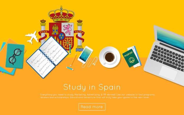 Концепция обучения в испании для вашего веб-баннера