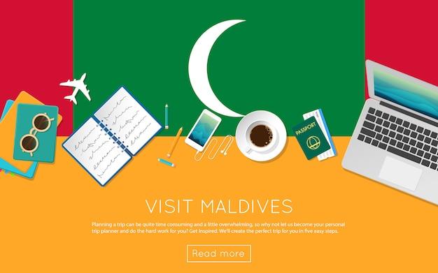 Посетите концепцию мальдив для вашего веб-баннера