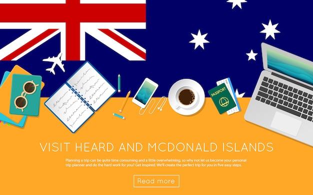 ハード島とマクドナルド諸島のコンセプトをご覧ください。ハードとマクドナルド諸島の国旗にラップトップ、サングラス、コーヒーカップの平面図。