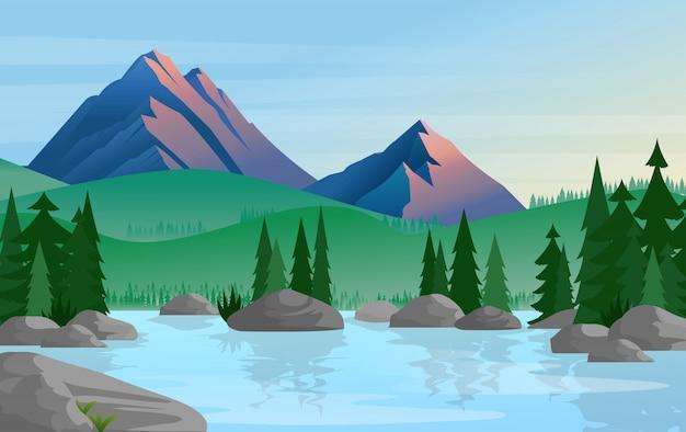 松の木のグループが背景に山々と穏やかな静かな水に反映