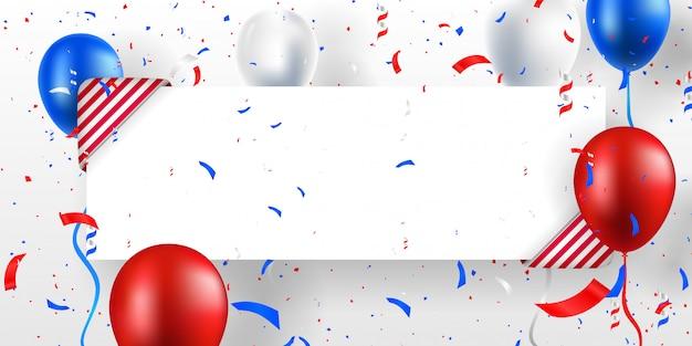 Праздничный баннер фон с шарами, украшениями и конфетти. место для текста. сша (соединенные штаты америки) цветные векторные иллюстрации.
