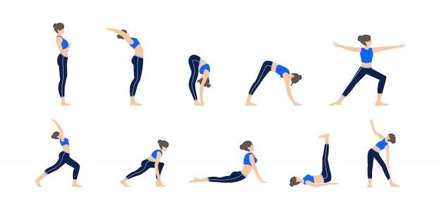 Набор девушек в разных позах йоги. различные иллюстрации упражнений