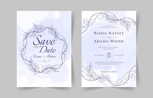 Элегантные свадебные приглашения шаблон с акварелью цветочным декором