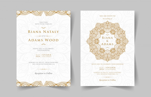 マンダラとビンテージのウェディング招待状
