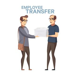 従業員の交代。フラットな漫画のスタイルの労働者の売り上げ高のストックイラスト。上司または管理者が従業員を別の職場に転勤させ、仕事を交代します。ビジネスにおける不当解雇。