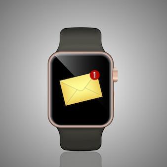 スマートな時計のリアルなイラスト。スマートウォッチが鳴り、新しいメッセージ通知を表示します。
