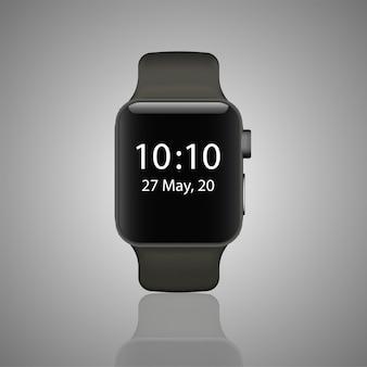 灰色の背景に分離されたステンレスのスマートな時計。