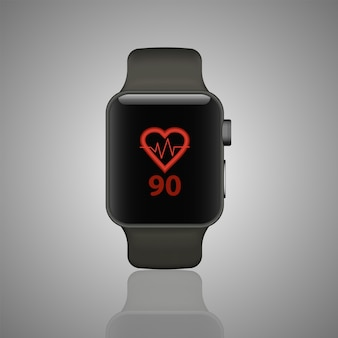 心拍数モニター付きフィットネストラッカースマートな時計のイラスト。モダンでスタイリッシュなウェアラブルデバイス。