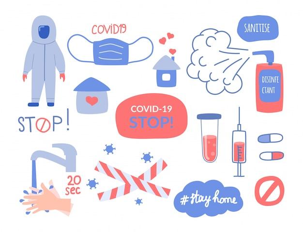 コロナウイルスの主題に関する要素のセット