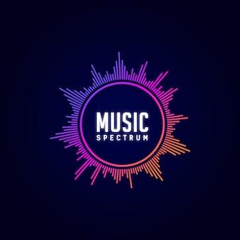 Логотип музыки, эквалайзер, диджей, спектр, красочный,