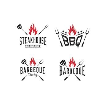 Шаблон логотипа для барбекю, барбекю