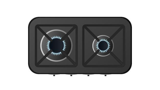 Черная кухонная плита с видом сверху. включена газовая плита. современная печь для кухни в реалистичном стиле. изолированные.