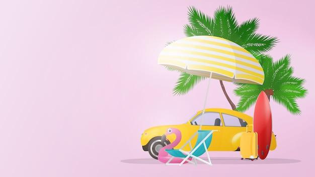 Розовый фон на тему лета и туризма. пальмы, шезлонг, зонтик, желтый чемодан для туризма, желтый автомобиль, красная доска для серфинга. постер.