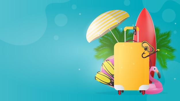 Синий баннер с местом для текста путешествия. красная доска для серфинга, желтый чемодан для туризма, ласты, маска для плавания, очки, пальмы, зонт от солнца, резиновое кольцо для плавания.
