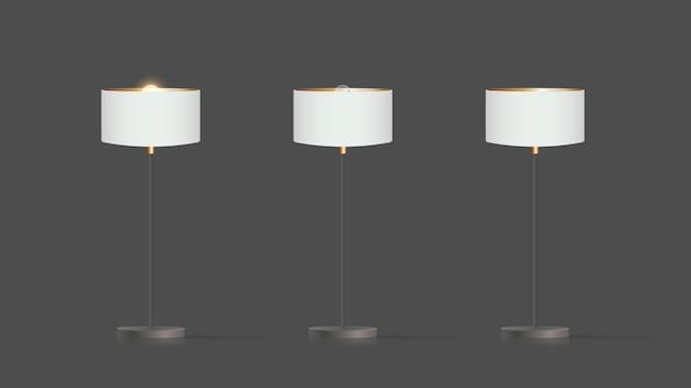 装飾的な床ランプ。白いシルクのランプシェードとメタルレッグのオリジナルモデル。居間、寝室、書斎、オフィスに。灰色の背景のイラスト。