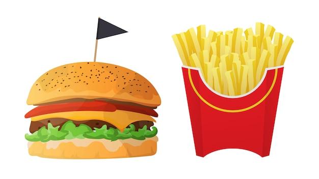 ファストフード。ハンバーガーとフライドポテトは、白い背景で隔離。チーズ、カツレツ、トマト、ハーブのハンバーガー。赤い箱のフライドポテト。図。
