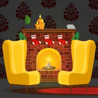 暖炉とアームチェアのある居心地の良い部屋。