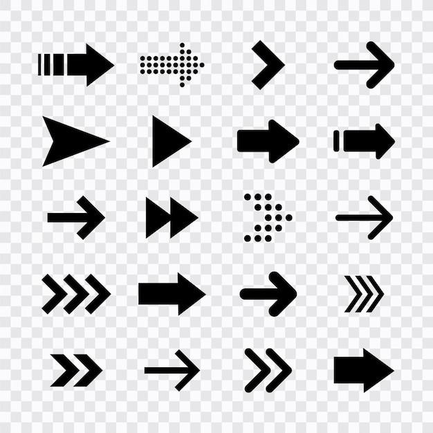 矢印の大きな黒いアイコンを設定します。矢印アイコン。矢印コレクション。矢印。カーソル。モダンなシンプルな矢印。図。