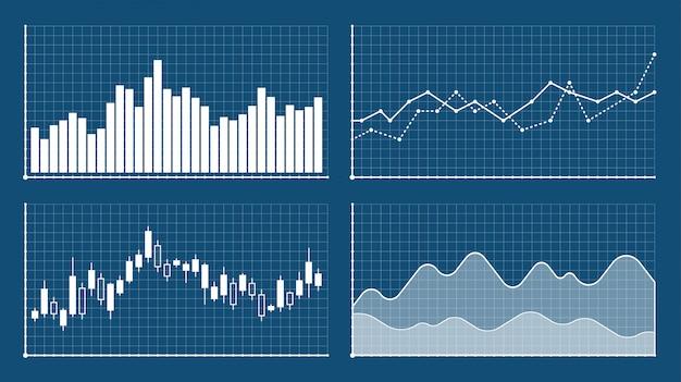 Шаблоны гистограммы и линейного графика, бизнес инфографики. графики и диаграммы установлены. статистика и данные, информация инфографики.