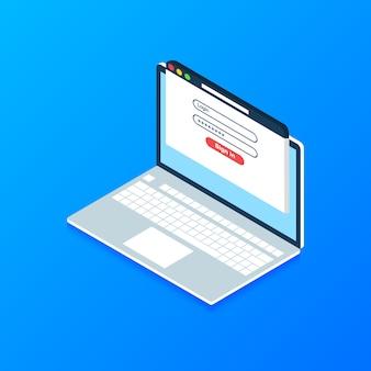 画面上のログインおよびパスワードフォームページと等尺性ラップトップ