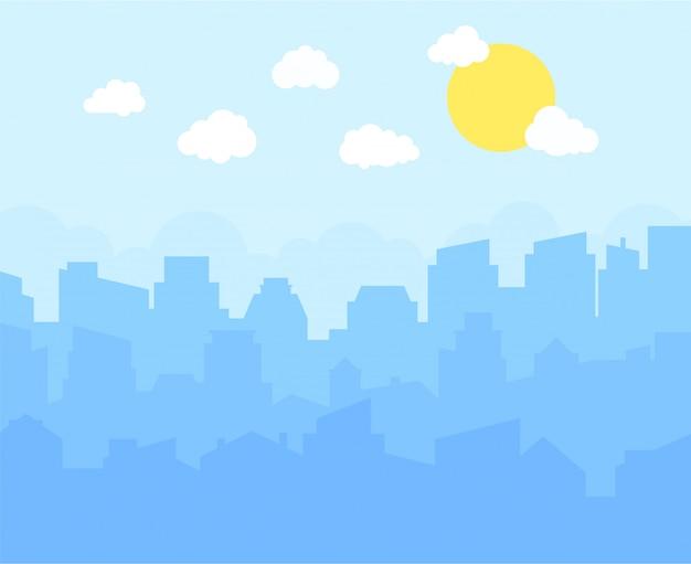青い空、白い雲、太陽の街。都市景観のスカイラインフラットパノラマ。
