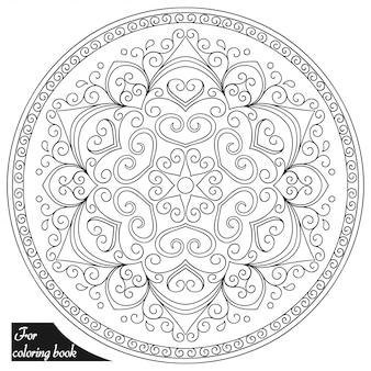 花とマンダラの形の円形パターン。エスニックオリエンタルスタイルの装飾的な飾り。落書き手描きイラストの概要を説明します。