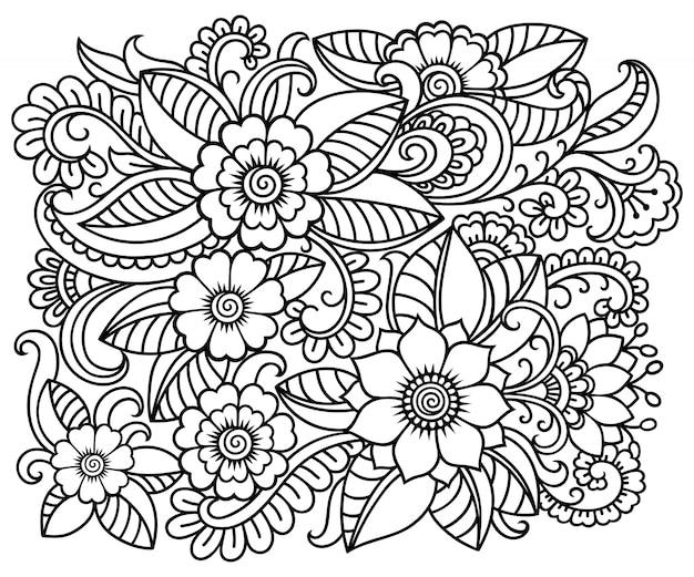 Контур квадратный цветочный узор в стиле менди. каракули орнамент в черно-белом. рука рисовать иллюстрации.