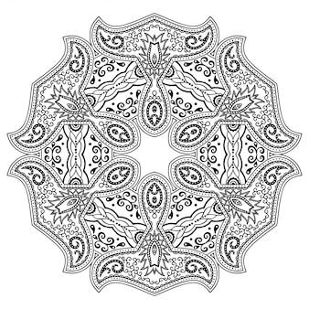Круглый узор в виде мандалы с цветком для хны, менди, тату, украшения. декоративный орнамент в этническом восточном стиле. наброски каракули рука рисовать иллюстрации.