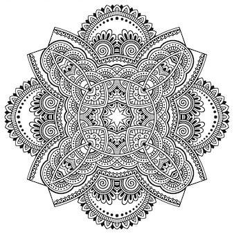 ヘナ、一時的な刺青、タトゥー、装飾用の花とマンダラの形の円形パターン。エスニックオリエンタルスタイルの装飾的な飾り。概要落書き手描きイラスト。