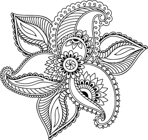 Менди цветок украшение в этническом восточном, индийском стиле. каракули орнамент. наброски рук рисовать иллюстрации.