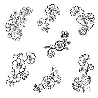 Набор цветочных украшений менди в этническом восточном, индийском стиле. каракули орнамент. наброски рук рисовать иллюстрации.