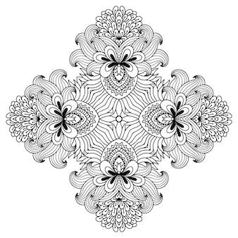 Мандала с цветком. декоративный орнамент в этническом восточном стиле. наброски каракули рука рисовать иллюстрации.
