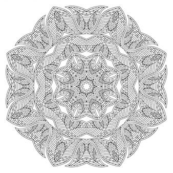 花とマンダラ。エスニックオリエンタルスタイルの装飾的な飾り。概要落書き手描きイラスト。