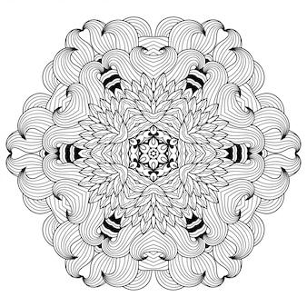 マンダラの花。エスニックオリエンタルスタイルの装飾的な飾り。概要落書き手描きイラスト。