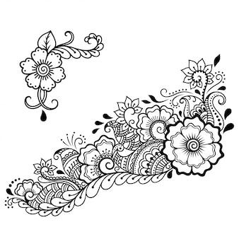 Набор из менди цветов и шаблон лотоса. оформление в этническом восточном, индийском стиле. каракули орнамент. наброски рук рисовать иллюстрации.