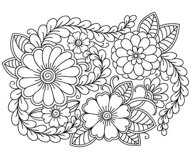 Контур цветочный узор в стиле менди для раскраски страницы книги. антистресс для взрослых и детей. каракули орнамент в черно-белом.