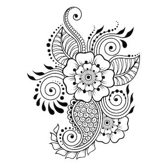 Менди цветочный узор для рисунка хной и татуировки. оформление в этническом восточном, индийском стиле. каракули орнамент. контур