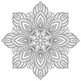 Круглый узор в виде мандалы с цветком для хны, менди, тату, украшения. декоративный орнамент в этническом восточном стиле. наброски каракули