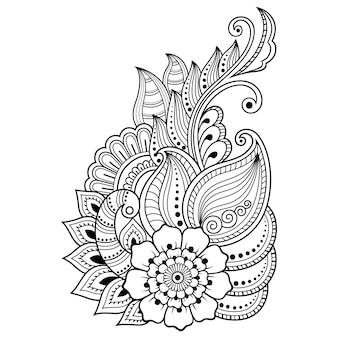 インド風のヘナタトゥー花テンプレート。エスニック花柄ペイズリー-ロータス。一時的な刺青スタイル。オリエンタルスタイルの装飾的なパターン。