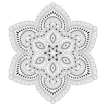 Круглый узор в виде мандалы с цветком для хны, менди, тату, украшения. декоративный орнамент в этническом восточном стиле. наброски каракули рука рисовать.